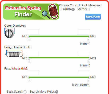 basic stock music wire extension spring search
