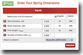 coil compression spring calculator instructions step 2